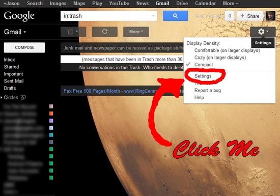 G-Mail Settings Tab