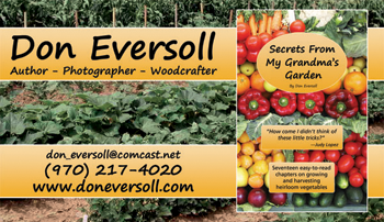 Don Eversoll: Secrets From My Grandma's Garden - Business Card and Book Cover